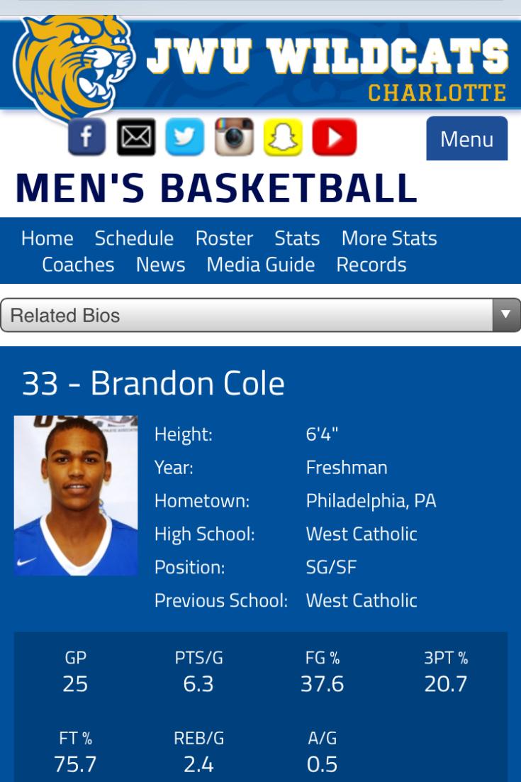 JWU Wildcats Brandon Cole Basketball Player